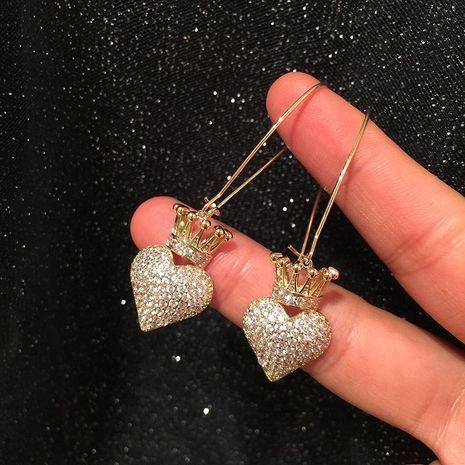 Womens Fashion Crown Love Micro Zircon Earrings NHWK127218's discount tags