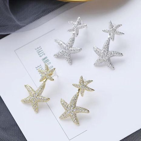 Womens Fashion Starfish Earrings with Tinted Zircon Earrings NHWK127223's discount tags