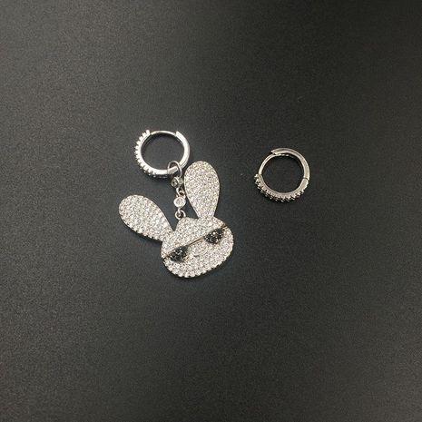 Womens Fashion Super Flash Bunny Asymmetric Micro-Inlay Zircon Earrings NHWK127227's discount tags