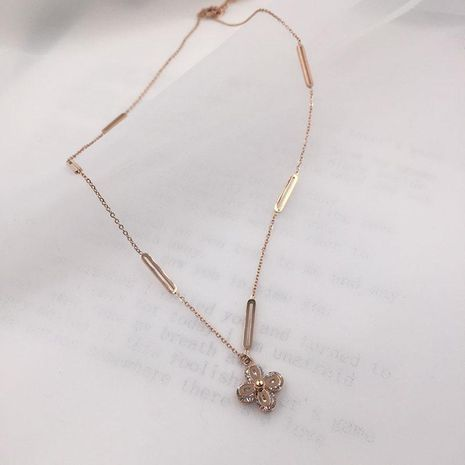 Womens Stylish Sweet Clover Titanium Steel Necklace NHWK127237's discount tags
