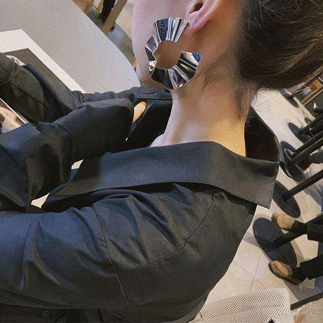 Fashion Wave Earrings Geometric Circles Pleated Large Earrings NHWK127243's discount tags