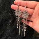 Womens Stylish extra long flower microset zircon earrings NHWK126962