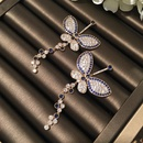 Fashion S925 Alloy Needle Color Big Butterfly Micro Zircon Earrings NHWK127195