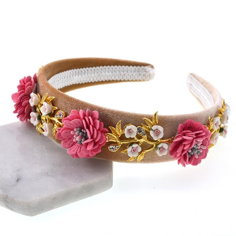 Womens Floral Plating Alloy Hair Accessories NHNT127279