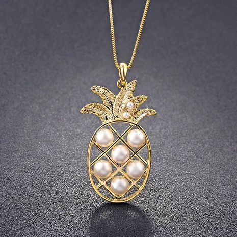 Collier de perles en alliage de fruits ananas pour femmes NHLJ127329's discount tags