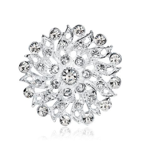 Womens leaf Rhinestone heart hollow plating alloy Brooches NHDR127356's discount tags