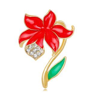 Fashion rhinestone drip poppy brooch NHDR127389's discount tags