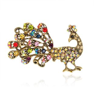 Womens Animal Rhinestone peacock Alloy Brooches NHDR127400's discount tags
