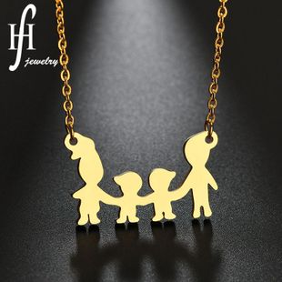 Womens Doll Plated A family of four Stainless Steel Necklaces NHHF127429's discount tags