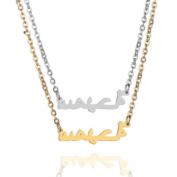 Fashion creative islam muslim pattern Plated Stainless Steel Necklaces NHHF127432