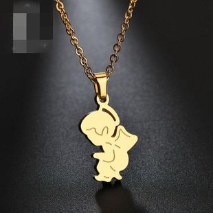 Collares de acero inoxidable de angel angel simple y lindo NHHF127470's discount tags