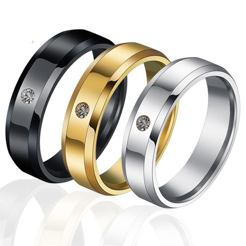 Fashion 6mm beveled glossy rhinestone couple ring NHHF127475