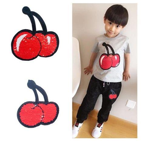 Two-color flipable cherry children s wear sequins NHLT127506's discount tags