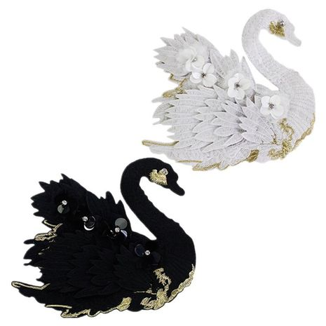 Flower black and white swan embroidery cloth sticker NHLT127515's discount tags