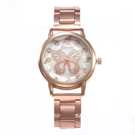 Fashion steel belt butterfly with rhinestone simple scale alloy quartz watch NHHK127538's discount tags