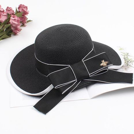 Korean version of the black bow casual sun hat NHXO127580's discount tags