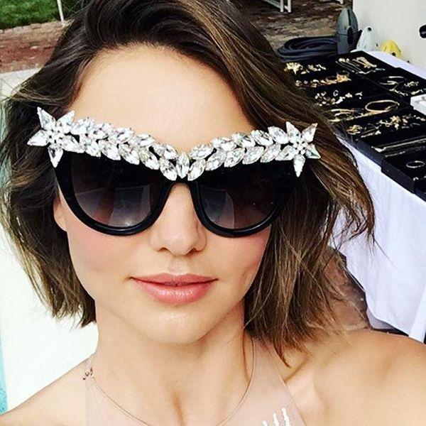 Fashion women s luxury rhinestone flat mirror sunglasses NHFY127655