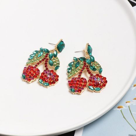 Womens Cherry Rhinestone Alloy Earrings NHJJ127748's discount tags