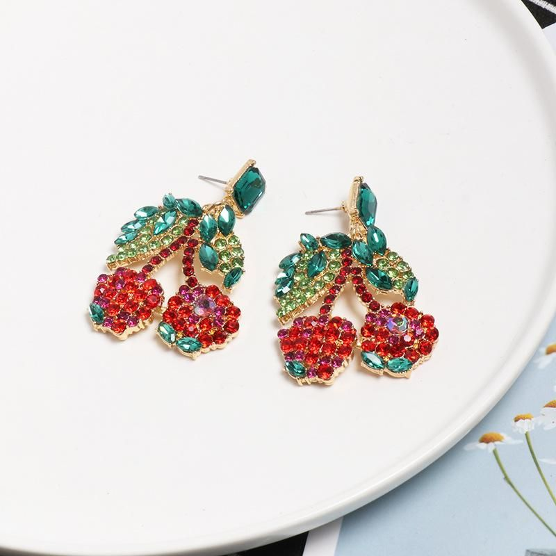 Womens Cherry Rhinestone Alloy Earrings NHJJ127748