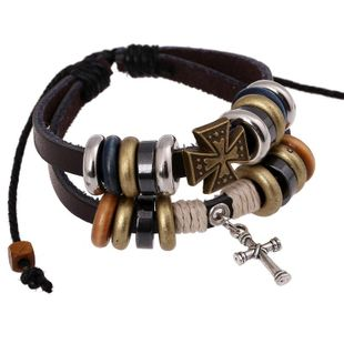 Unisex geometric leather Bracelets & Bangles NHPK127769's discount tags