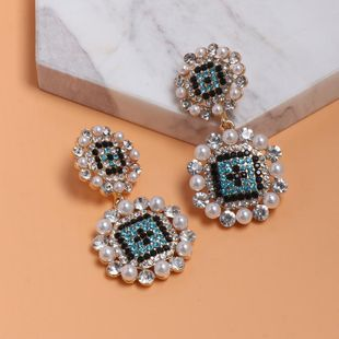 Womens Geometric Colored rhinestone Alloy Earrings NHJJ127778's discount tags
