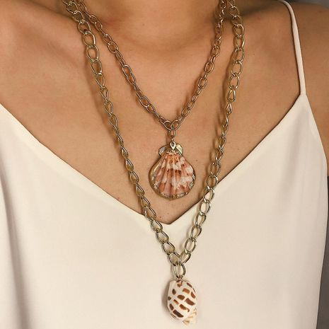 Creative beach shell double layer Necklaces NHXR127779's discount tags