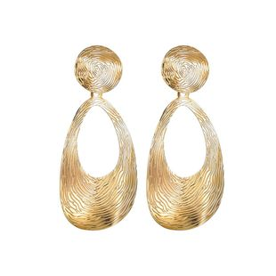 Geometric fingerprinting teardrop plating alloy Earrings NHBQ127784's discount tags