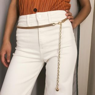 Womens geometric plating metal Long tassel waist chain NHXR127790's discount tags