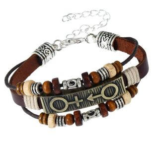 Handmade beaded cowhide leather Bracelets & Bangles NHPK127799's discount tags