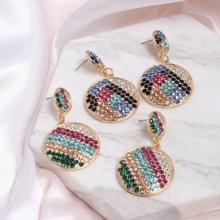 Womens Geometric Colored rhinestone Alloy Earrings NHJJ127803's discount tags