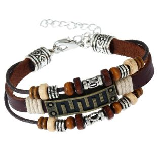 Unisex geometric Vintage bronze leather Bracelets & Bangles NHPK127806's discount tags