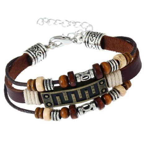 Unisex geometric Vintage bronze leather Bracelets & Bangles NHPK127806's discount tags