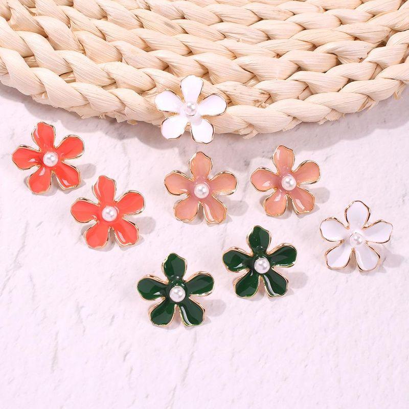 Womens Geometric Alloy Imitation Beads Earrings NHMD127808