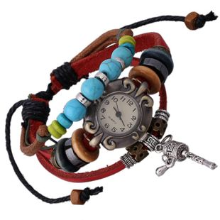 Explosive tumbler with leather retro leather Bracelets & Bangles NHPK127813's discount tags