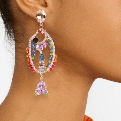 Womens Geometric Alloy Imitation Rhinestone Earrings NHMD127832's discount tags