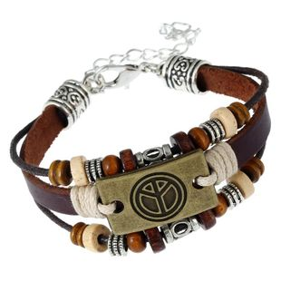 Vintage weaving peace leather Bracelets & Bangles NHPK127837's discount tags