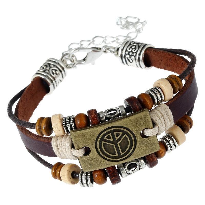 Vintage weaving peace leather Bracelets & Bangles NHPK127837
