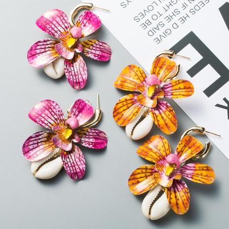 Womens Flower Dropper Alloy Shell  Earrings NHWF127843's discount tags