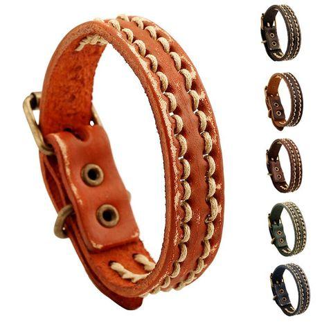 Unisex geometric leather Bracelets & Bangles NHPK127891's discount tags