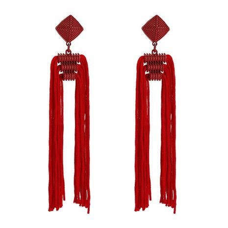 Womens Floral tassel Rice Beads Line Weaver Earrings NHWF127898's discount tags