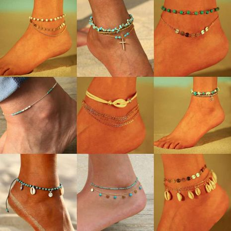 Womens geometric plating cord beads shell alloy ankle bracelet NHMD127896's discount tags
