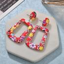 Womens Geometric PU Personality printing Leather Earrings NHBQ127888
