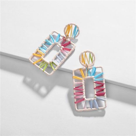 Square section dyed color Rafia weave female earrings NHLU127914's discount tags