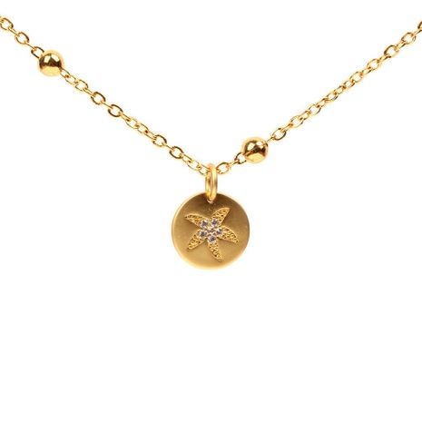 Starfish sand alloy micro-encrusted round stainless steel bead necklace NHPY127929's discount tags