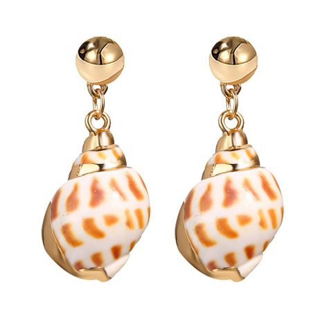 Creative vintage pattern alloy-plated side conch pendant earrings NHPJ127931's discount tags