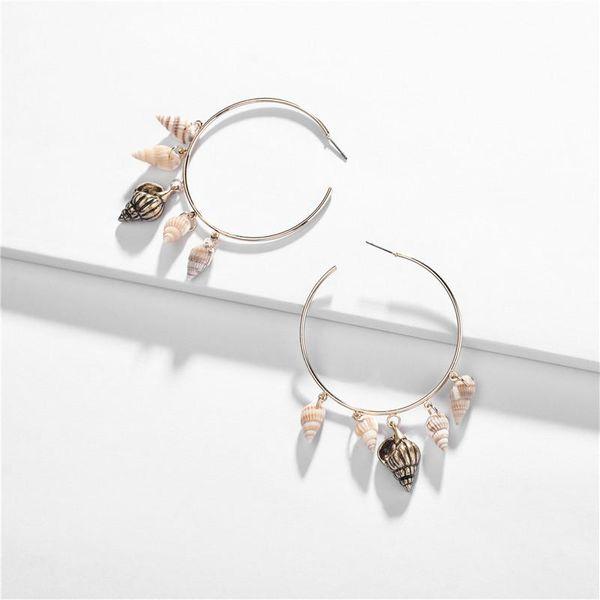 Fashion natural conch alloy copper ear ring NHLU127939