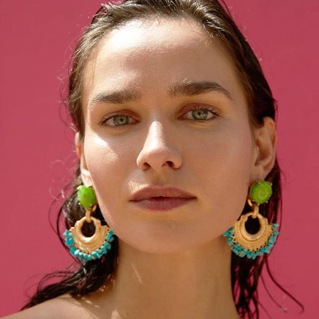 Womens Arc Semicircle Geometric Alloy Turquoise Earrings NHJQ127954's discount tags