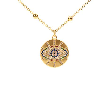 Micro-inlaid colored rhinestone  eye round necklace NHPY127960's discount tags