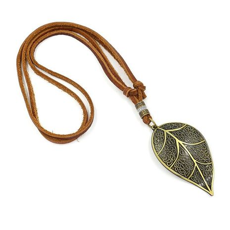 Unisex leaf plating leather Necklaces NHHM127972's discount tags