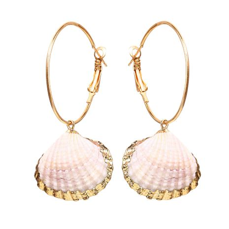 Creative retro circle inlaid alloy scallop earrings NHPJ127975's discount tags
